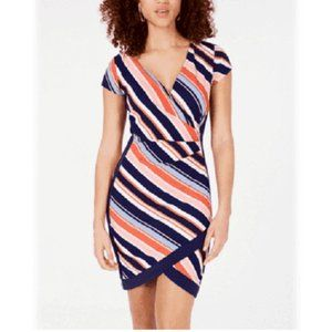 Crave Fame XS Navy Multi Striped Dress NWT AO44